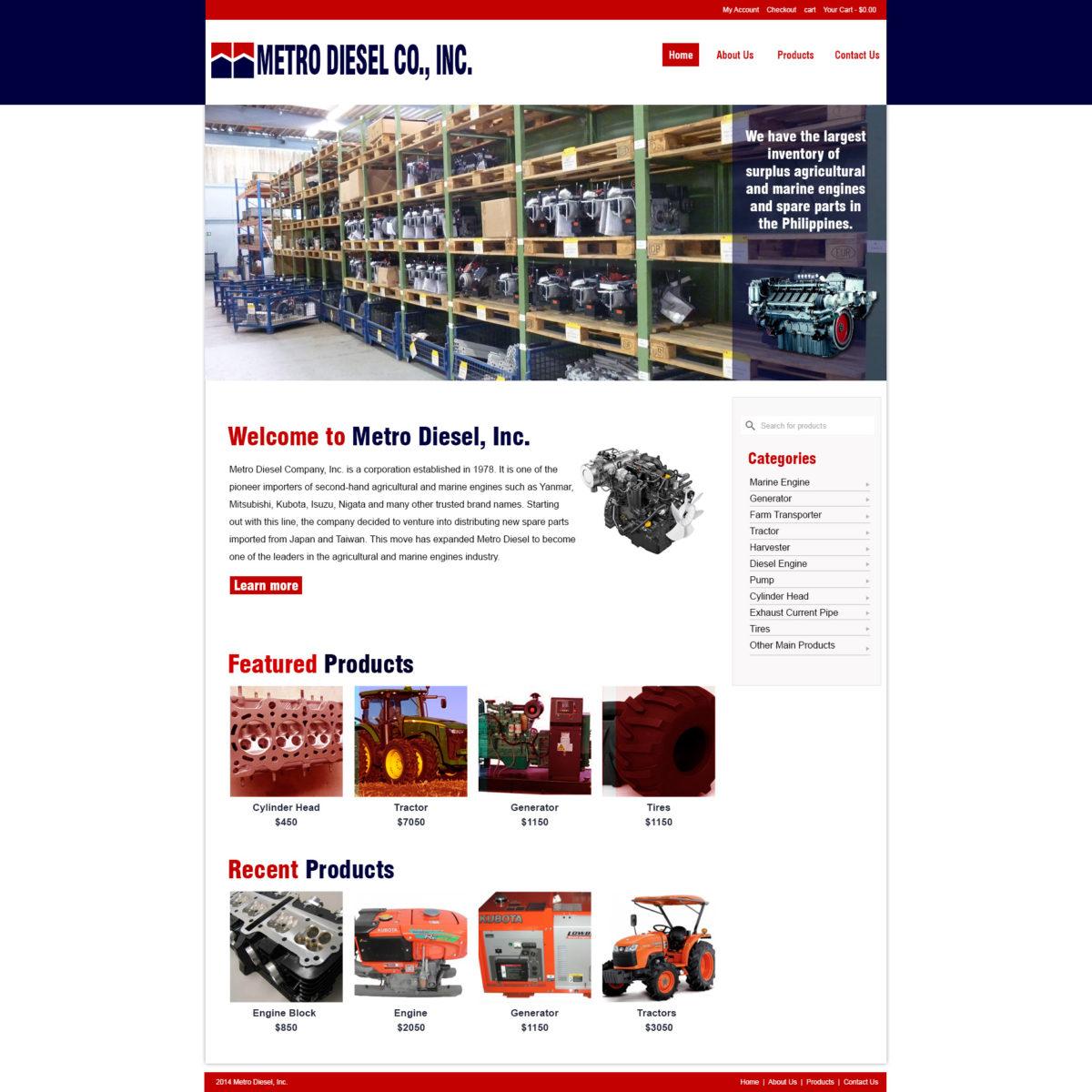 Metro Diesel Co., Inc freelance web design
