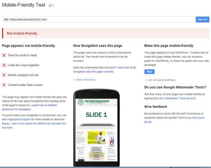Not mobile friendly website